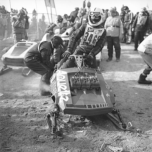 Gilles mounts his 650 single-track Alloutte, ready to win the 1974 Eagle River title.